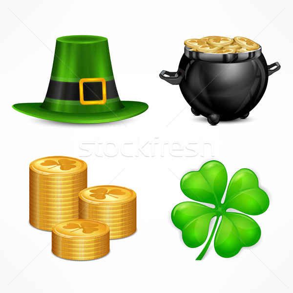 Stock photo: St. Patrick`s Day symbols on white
