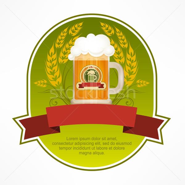 Stockfoto: Glas · mok · bier · label · groene