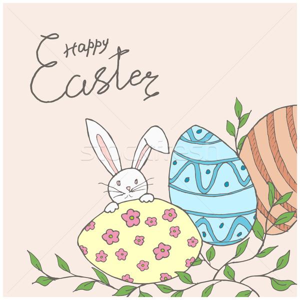 Pasqua carta uova coniglio verde ramo Foto d'archivio © creatOR76