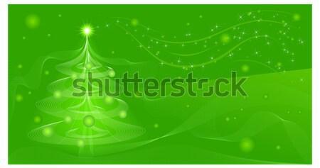 Stock fotó: Zöld · fenyő · gyönyörű · tél · szín · tájkép