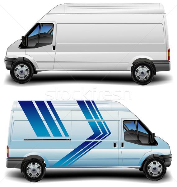 Minibus Blauw witte vracht vervoer vrachtwagen Stockfoto © creatOR76