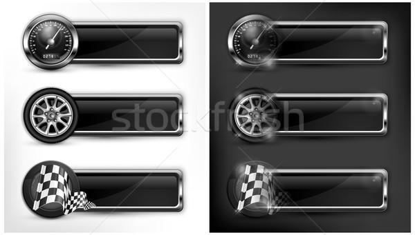 Stock fotó: Versenyzés · ikonok · sebességmérő · kockás · zászlók · kerekek