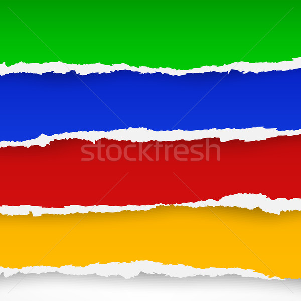 Four color torn paper sheets  Stock photo © creatOR76