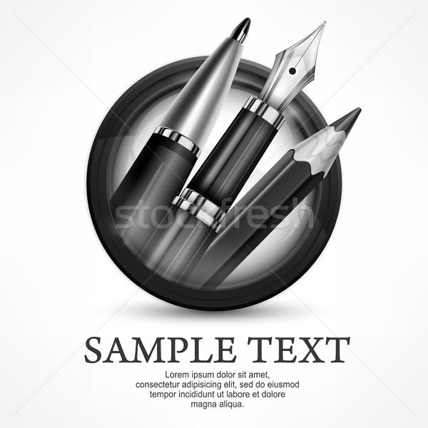 Cerchio penne logo premio emblema metallico Foto d'archivio © creatOR76