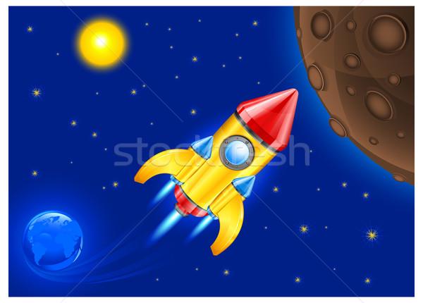 Retro foguete céu navio espaço veículo Foto stock © creatOR76