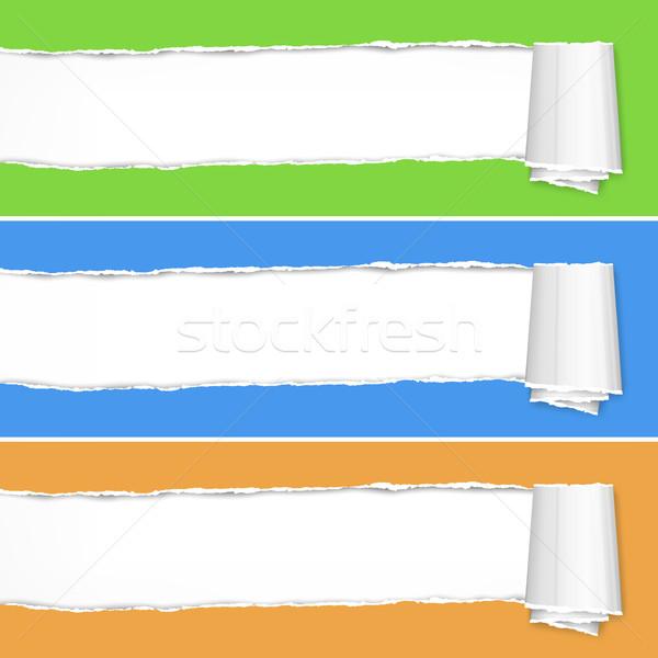 Yırtık kağıt parçalar renk uzay metin doku Stok fotoğraf © creatOR76