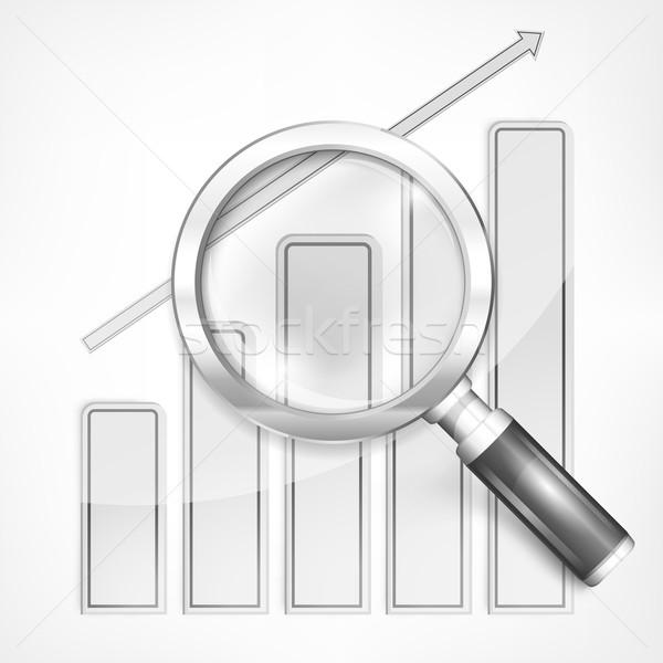 Nagyító diagram fehér grafikus üveg felirat Stock fotó © creatOR76