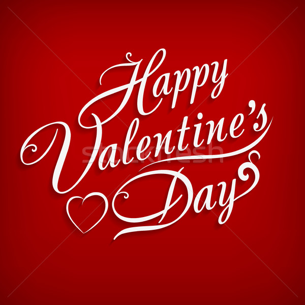 Happy Valentines Day inscription on red Stock photo © creatOR76