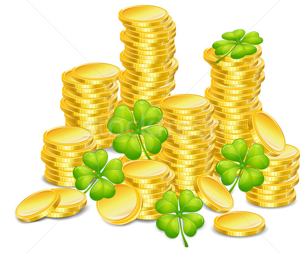 Golden coins with clover  Stock photo © creatOR76