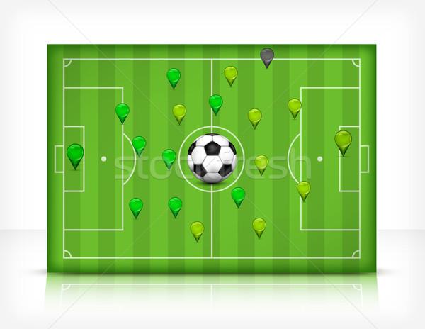 Futball futballpálya labda stadion zöld fű sport Stock fotó © creatOR76