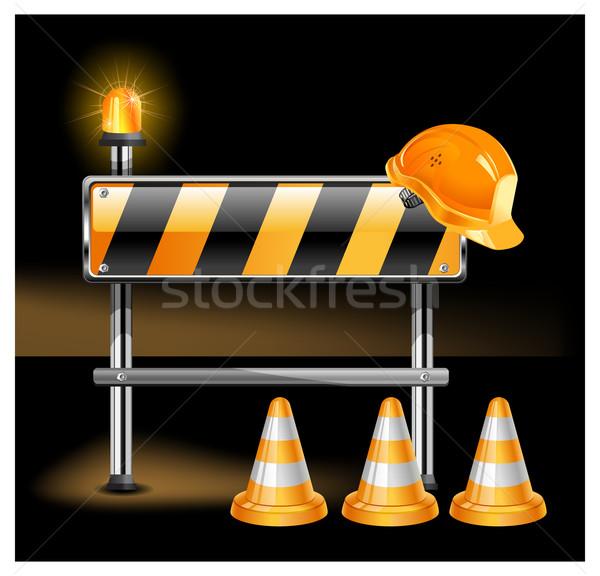 Stok fotoğraf: Inşaat · siyah · yol · uyarı · koni · imzalamak