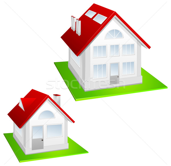 Modell kunyhó ház piros tető gyep Stock fotó © creatOR76