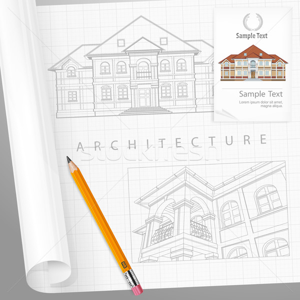 Architectural detailed plan on paper Stock photo © creatOR76