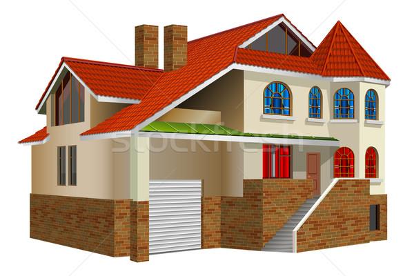 Residenza paese casa Windows rosso piastrelle Foto d'archivio © creatOR76