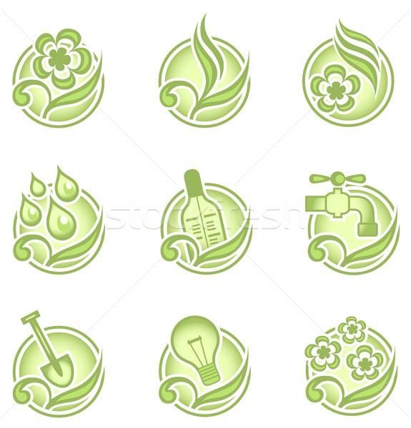 Környezeti ikonok zöld szett grafika gyűjtemény Stock fotó © creatOR76
