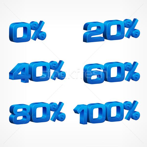 Percentagem números sinais branco compras azul Foto stock © creatOR76