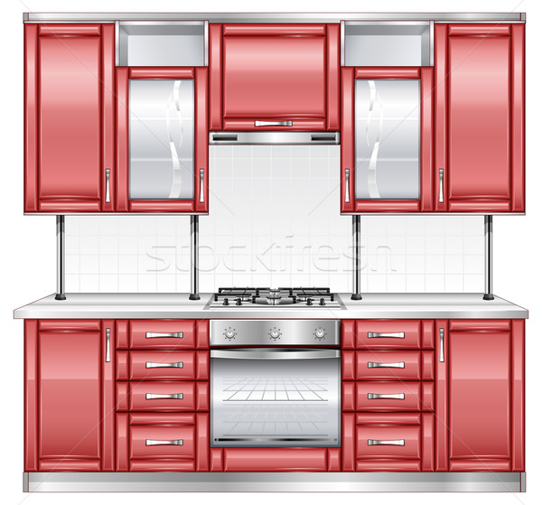 Rood keuken moderne keuken interieur kleur metaal vector illustratie vadym - Kleur rood ruimte ...