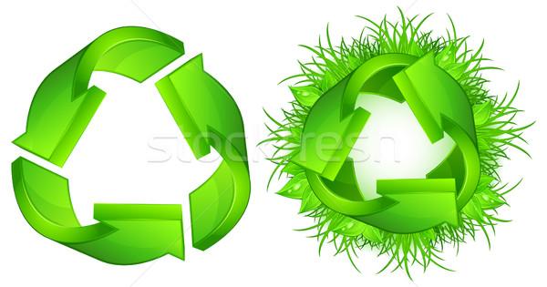 Verde reciclar sinais símbolo isolado branco Foto stock © creatOR76
