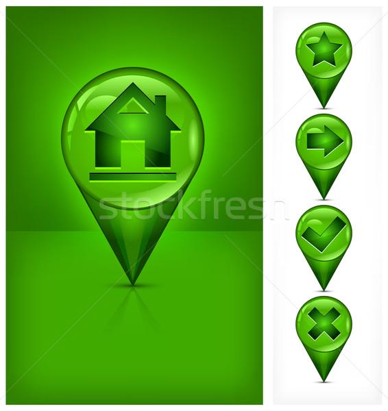 GPS ikona nawigacja domu symbol zielone Zdjęcia stock © creatOR76