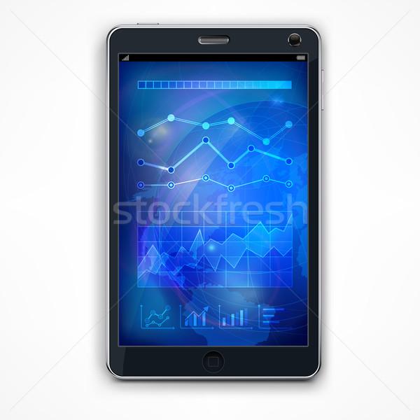 Infographic on blue phone screen Stock photo © creatOR76
