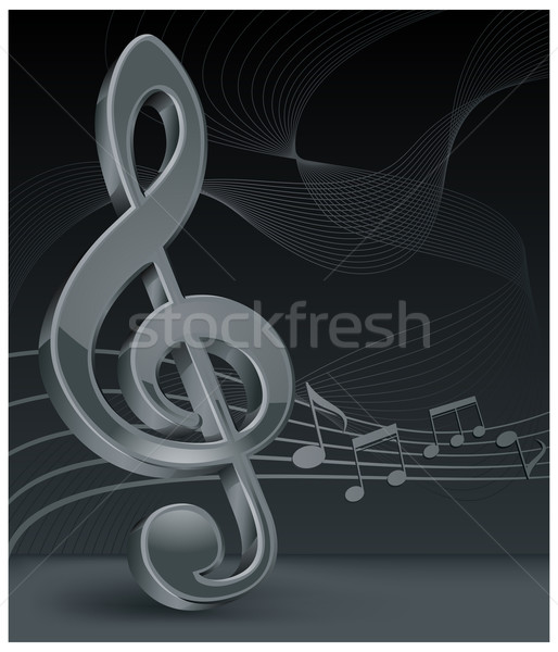 Grey treble clef on black Stock photo © creatOR76