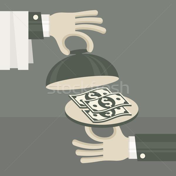 üzlet pénz tálca kéz pénzügy bank Stock fotó © creatOR76