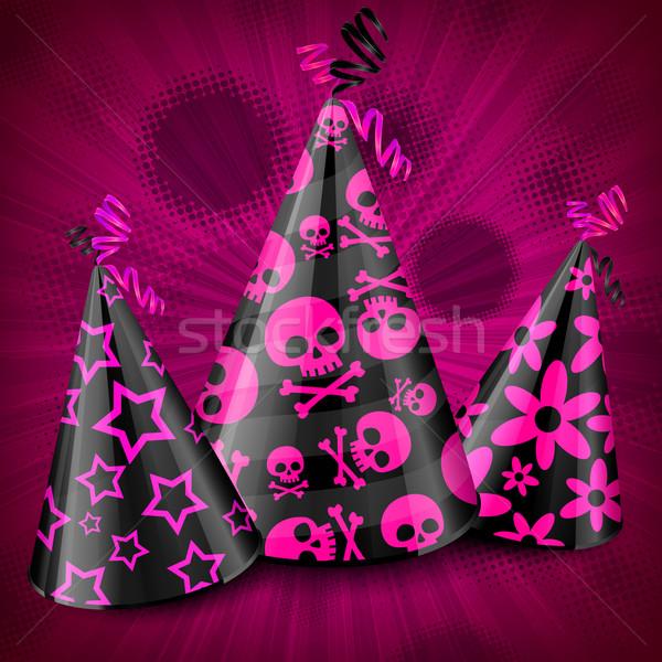 Goth fête rose décorations crâne Photo stock © creatOR76
