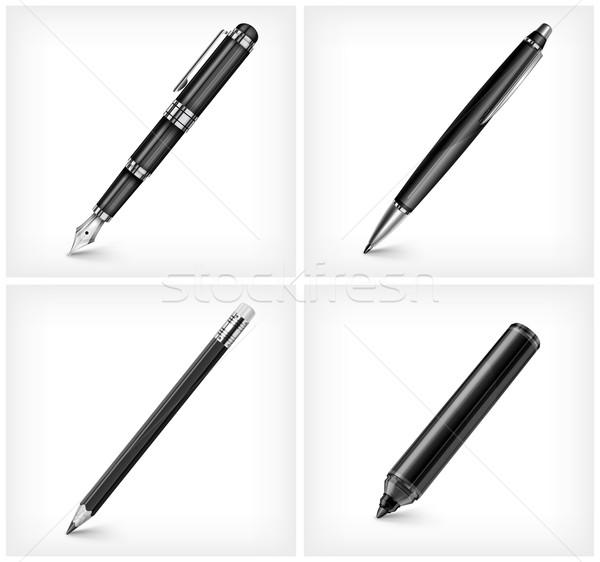 Stift Bleistift Textmarker Füller schwarz isoliert Stock foto © creatOR76