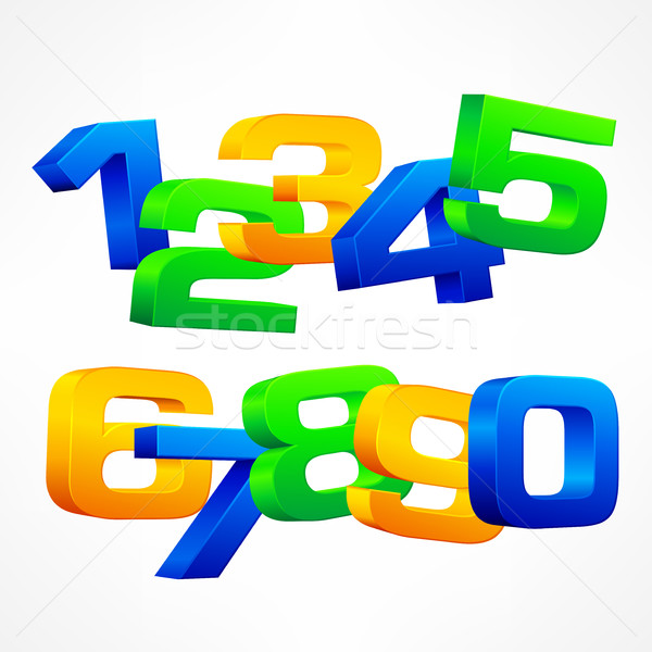 Color alphabet isometric numbers  Stock photo © creatOR76
