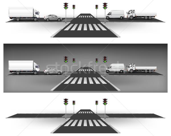 Zöld közlekedési lámpa útkereszteződés út város forgalom Stock fotó © creatOR76