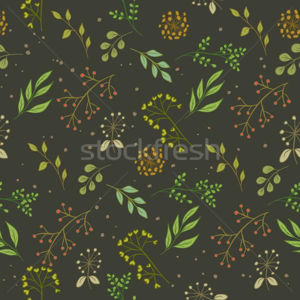 Floreale pattern colore senza soluzione di continuità buio foglie Foto d'archivio © creatOR76