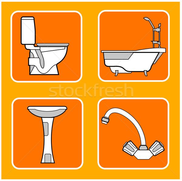ванную структур плитка санитарный оранжевый Сток-фото © creatOR76