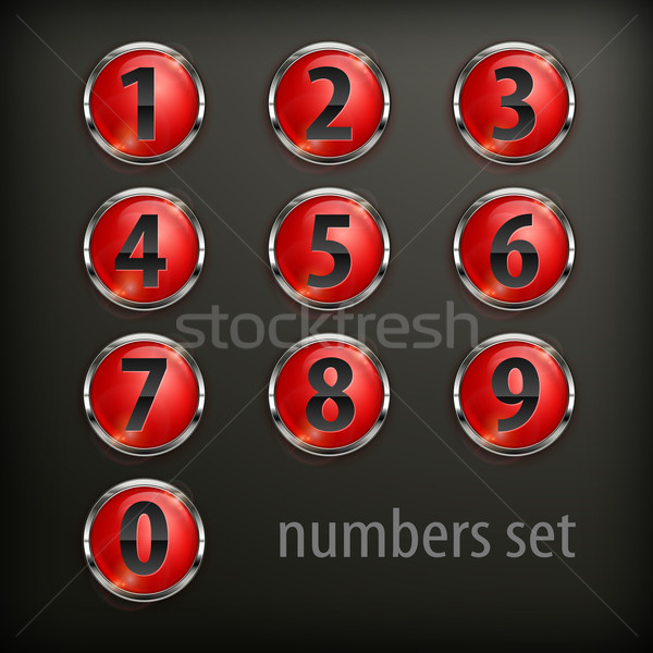Red round buttons with number on black Stock photo © creatOR76