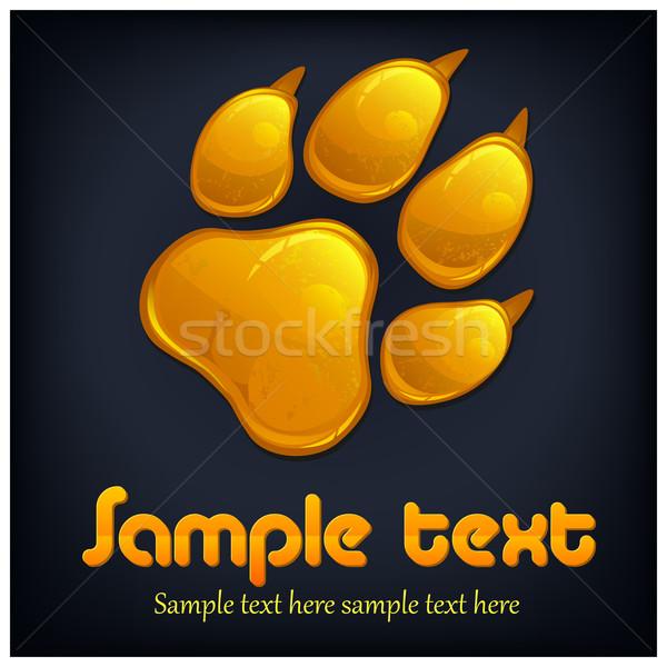 Amarelo pata imprimir texto animal isolado Foto stock © creatOR76