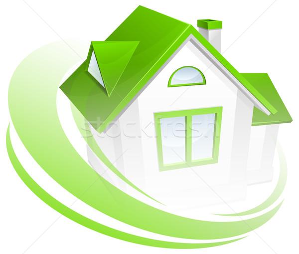 Modell ház kör zöld környezet otthon Stock fotó © creatOR76