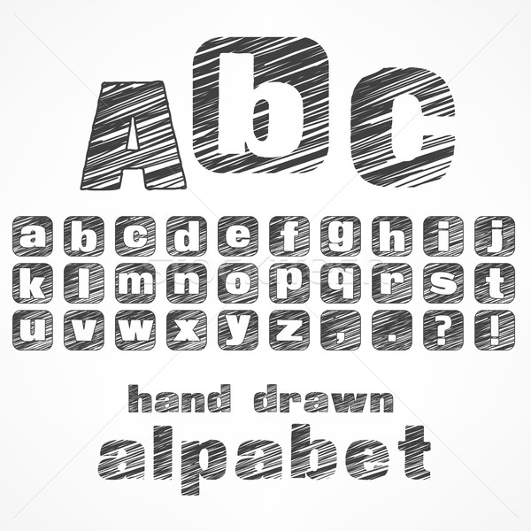 Alfabeto boceto cartas gris educación signo Foto stock © creatOR76