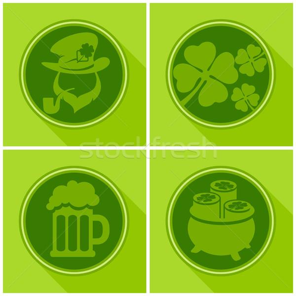 聖帕特里克節 符號 綠色 三葉草 啤酒 商業照片 © creatOR76