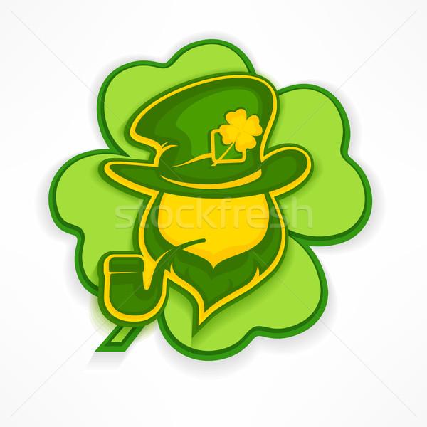 Leprechaun with pipe on green Stock photo © creatOR76