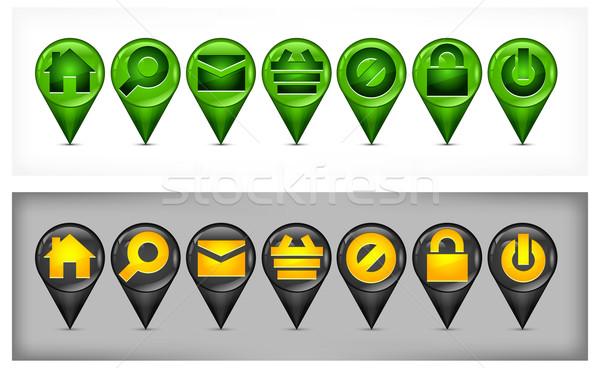 Ingesteld gps navigatie iconen huis Stockfoto © creatOR76