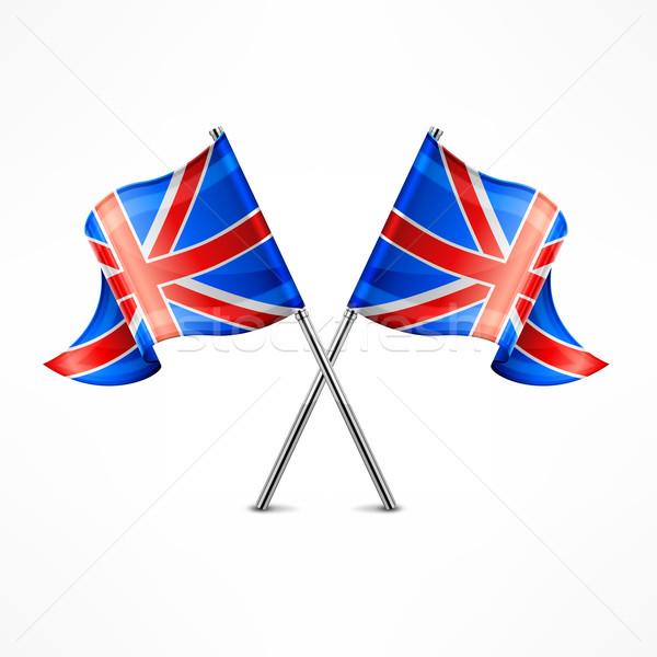 Iki İngiliz bayrağı yalıtılmış beyaz imzalamak mavi Stok fotoğraf © creatOR76