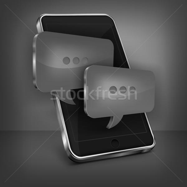 Foto d'archivio: Cellulare · messaggio · nero · bolla · business · telefono