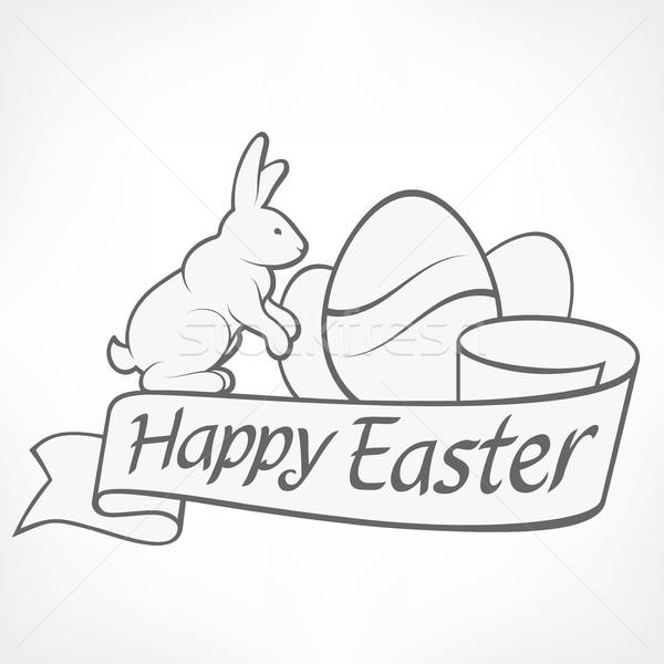 Paskalya tavşanlar beyaz örnek yumurta şerit Stok fotoğraf © creatOR76