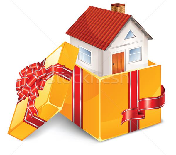 Kicsi ház nyitva doboz íj gyönyörű Stock fotó © creatOR76