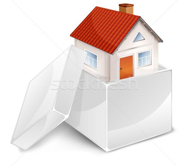 Ház fehér doboz kicsi gyönyörű nyitva Stock fotó © creatOR76
