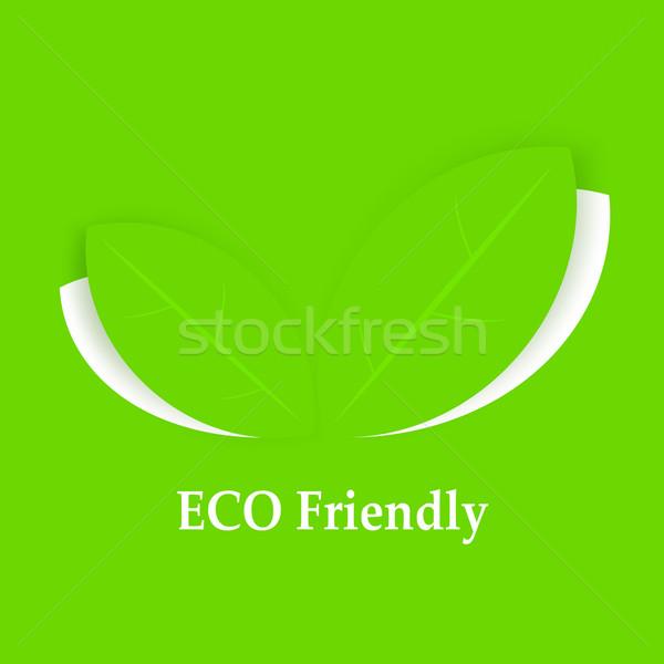 листьев зеленый фон Label здорового Сток-фото © creatOR76