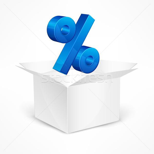 Prozentsatz Zeichen Feld öffnen blau Marketing Stock foto © creatOR76
