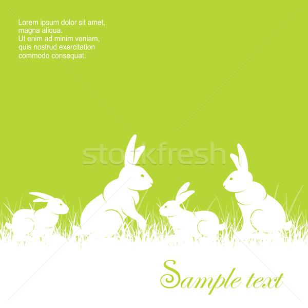 Nyulak fű szöveg különböző sziluett zöld Stock fotó © creatOR76