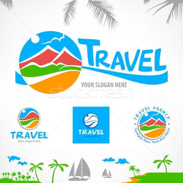 Conjunto viajar símbolos sinais estilizado paisagem Foto stock © creatOR76