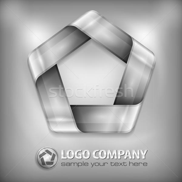 Terv Pentagon szürke fém dizájn elem mértani Stock fotó © creatOR76