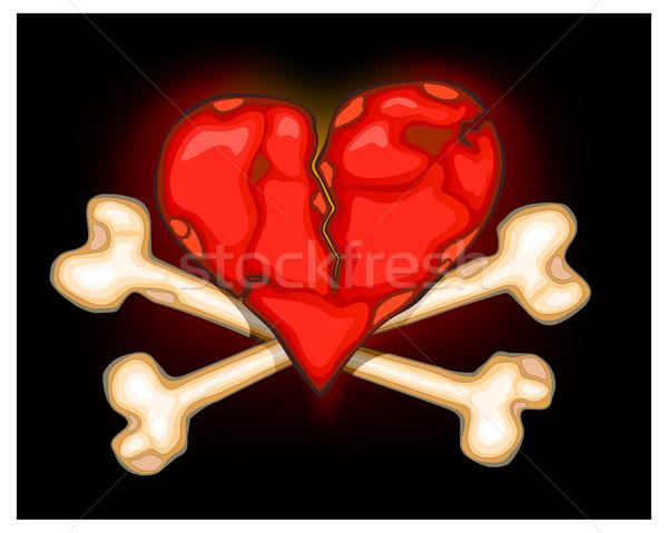 Heart & bones on black Stock photo © creatOR76